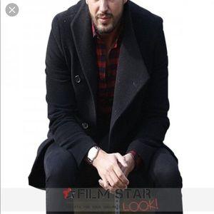 Men's Falcone Black Wool Jacket / Overcoat